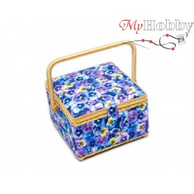 Toolbox / Sewing basket 'Pansy Medley', size: 20.5 x 20.5 x 13.5cm - 4146-RT-27