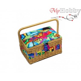 Toolbox / Sewing basket 'Poinsettia', size: 24.5 x 18 x 12.5cm - 4142-RT-13