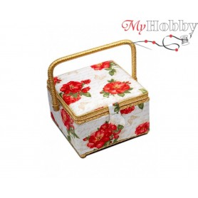 Toolbox / Sewing basket 'Tea for Two', size: 20.5 x 20.5 x 13.5cm - 4133-RT-27