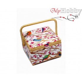 Toolbox / Sewing basket 'Swans', size: 20.5 x 20.5 x 13.5cm - 4124-RT-27