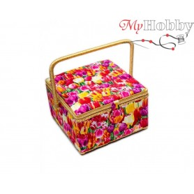 Toolbox / Sewing basket 'Bright Butterflies', size: 26 x 26 x 16cm - 4122-RT-37