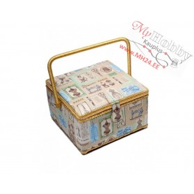 Toolbox / Sewing basket 'City and Cats. Autumn', size: 26 x 26 x 16cm - 4103-RT-37