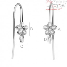 Sterling Silver Earrings hooks with flower