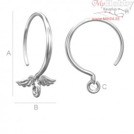 Sterling Silver Round ear wires - wings