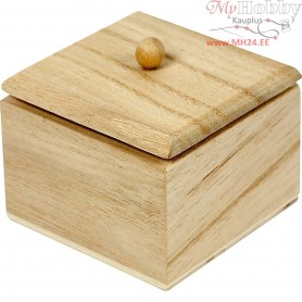 Mini Box with lid, size 6x6x5 cm, inner size 5x5x4 cm, empress wood, 4pcs